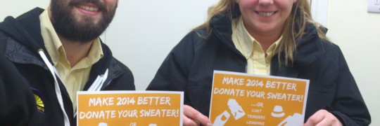 Adam and Dawn from Armadillo Self Storage launch the 'Make 2014 better - donate your sweater' appeal!